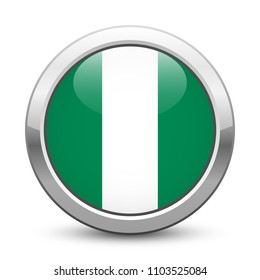 Nigeria - shiny metallic button with national flag. Nigerian symbol isolated on white background. Vector EPS10