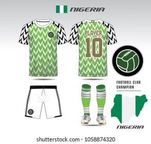 Nigeria soccer jersey or team apparel template. Mock up Football uniform for football club. Green and black layout football sport t-shirt design. Vector Illustration design.
