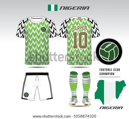Nigeria Soccer Jersey Or Team Apparel Template Mock Up Football Uniform For Club