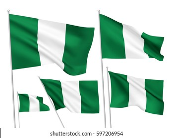 Nigeria vector flags set. 5 wavy 3D cloth pennants fluttering on the wind. EPS 8 created using gradient meshes isolated on white background. Five fabric flagstaff design elements from world collection