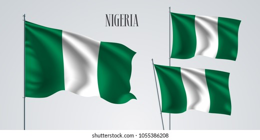 Nigeria waving flag set of vector illustration. Green white colors of Nigeria wavy realistic flag as a patriotic symbol