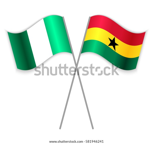 Nigerian and Ghanaian crossed flags. Nigeria combined with Ghana isolated on white. Language learning, international business or travel concept.