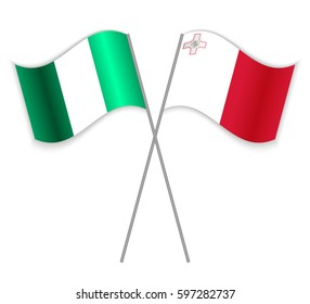 Nigerian and Maltese crossed flags. Nigeria combined with Malta isolated on white. Language learning, international business or travel concept.