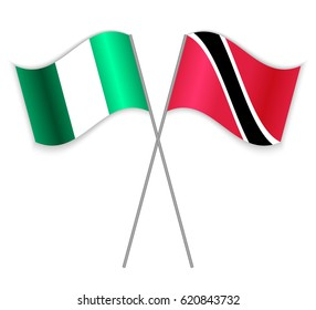 Nigerian and Trinidadian crossed flags. Nigeria combined with Trinidad and Tobago isolated on white. Language learning, international business or travel concept.