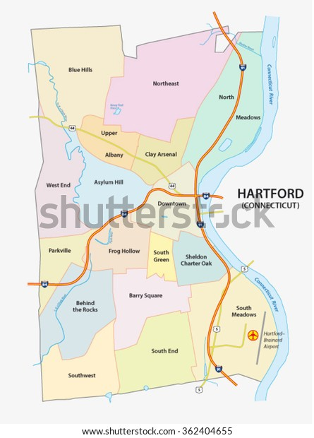 Nighborhood Map Hartford Capital Us State Stock Vector ...