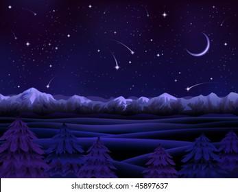 Night alpine scenery with evergreen firs