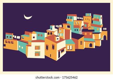 Night Asian city