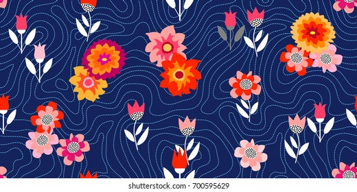 Night autumn garden. Seamless vector pattern with chrysanthemums and asters inspired by 1950s-1960s design. Retro textile collection. On dark blue background.