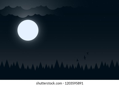 Night background with moon, clouds and dark forest
