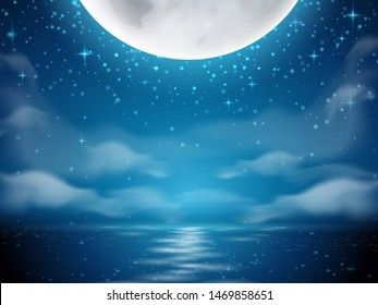 Night background with moon and sea. Dark background with moon reflection on ocean, river water. Romantic sky with clouds scene. Mystery midnight wallpapers. Evening or dusk lake. Seascape horizon