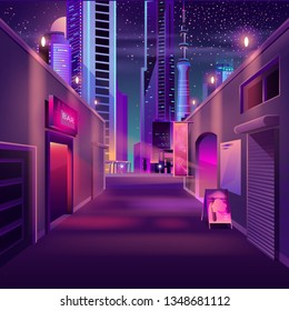 Night bar on city empty side street cartoon vector with advertising illuminated neon signboards on cafe entrance, futuristic skyscrapers buildings illustration. Small business in modern metropolis
