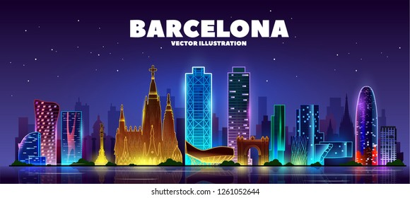 Night Barcelona skyline. Vector Illustration. Business travel and tourism concept with modern buildings. Image for presentation, banner, web site.