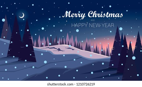 Night in beautiful winter forest. Snowy landscape background with pines and hills. Merry Christmas and Happy New Year