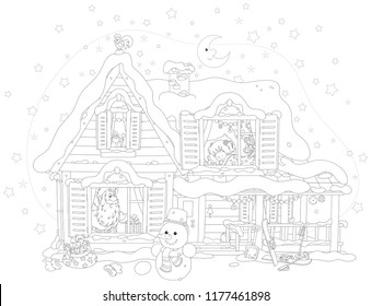 The night before Christmas, Santa Claus with his gifts for a little girl in a snow-covered house, black and white vector illustration