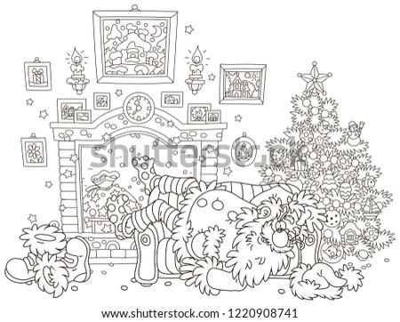 Night Before Christmas Santa Claus Sleeping Stock Vector Royalty