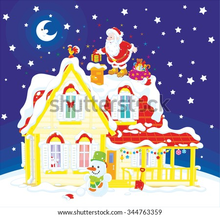 Night Before Christmas Santa Claus Putting Stock Vector (Royalty ...
