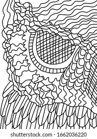 Night bird owl half face stylization outline illustration. Black lineart on white background coloring page for kids and adults. Unusual pastime printable coloring stock vector illustration.