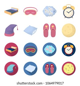 Night cap, pillow, slippers, moon. Rest and sleep set collection icons in cartoon,flat style vector symbol stock illustration web.