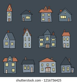 Night cartoon home collection - cute doodle style vector illustration.