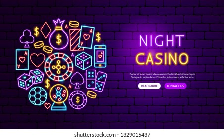Night Casino Neon Banner Design. Vector Illustration of Game Promotion.
