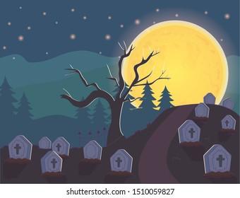 night cemetery with gravestones, moon halloween