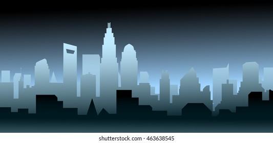 Night Charlotte North Carolina Skyline-Vector