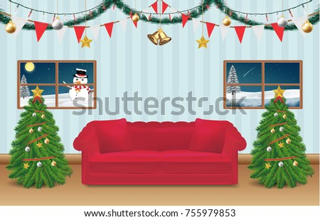 night christmas party room decorated background stock vector rh shutterstock com