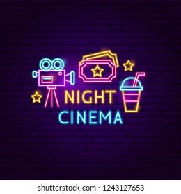 Night Cinema Neon Sign. Vector Illustration of Film Promotion.