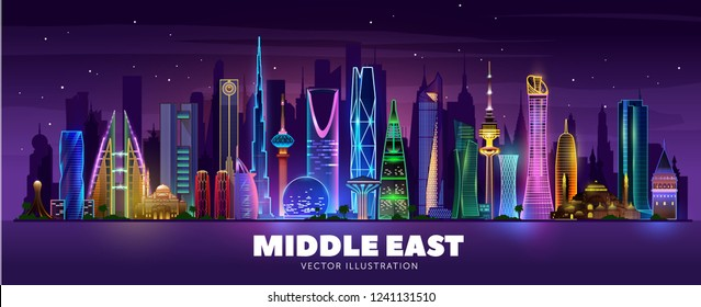 Night cities and famous buildings in middle east. Night skyline. Vector Illustration. Main buildings of Istanbul, Dubai, Kuwait, Manama, Abu Dhabi, Riyadh and Doha.