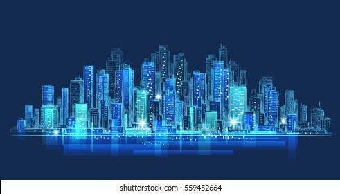 Night city background. Hand drawn vector