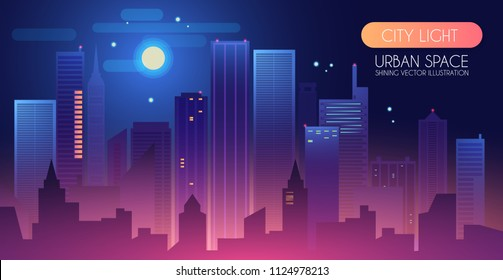 Night City Background with Shining Moon. Urban Lights. Modern Cityscape. Vector illustration