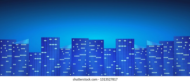 Night city background with skyscraper and blue lights.