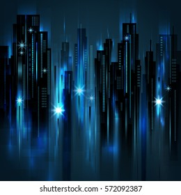 Night city background, vector illustration