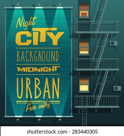 Night city. Banner on a wall. Vector illustration.