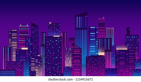 Night city. Colorful new york urban background. Modern cityscape panorama vector illustration. City urban skyline, architecture downtown skyscraper illuminated