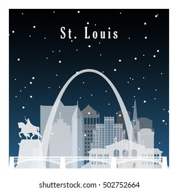 Night city in flat style for banner, poster, illustration, game, background. Nightlife and starry sky in St Louis.