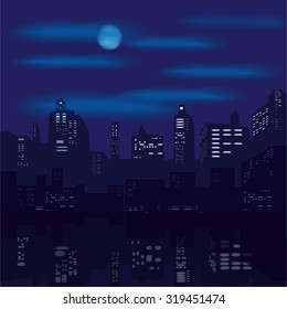 Night city, houses, windows, night sky, skyscrapers, moon, reflection, color, vector, banner, illustration