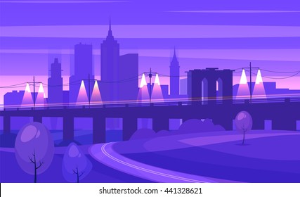 Night city landscape with bridge and road. Vector design illustration for web design development, natural landscape graphics.