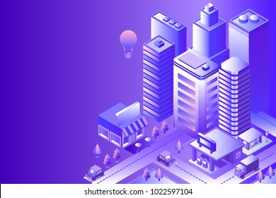 Night city landscape. Cityscape 3d vector isometric. Skyline scene. Smart city: skyscraper, building, architecture, car, shop, street, road, coffee. Technology in megapolis. Background with gradient.