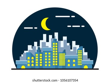 Night City Landscape Illustration. Flat Design.