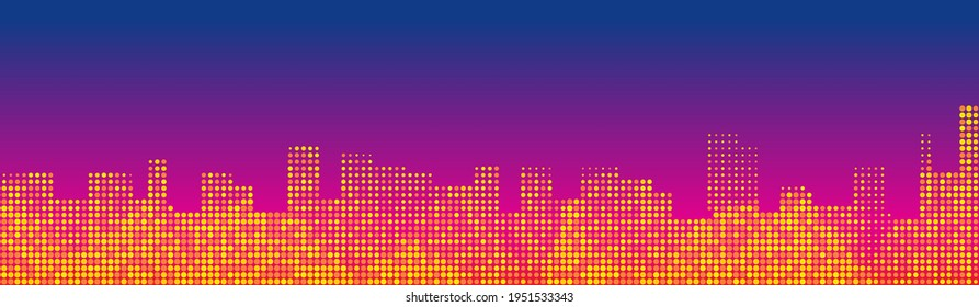 Night city lights abstract cityline horizontal vector background. Header or footer banner template. Red blue gradient background with place for text.
