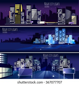 Night city lights nightscape 3 interactive horizontal banners set for  computer wallpaper or webpage abstract isolated vector illustration
