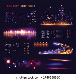 Night city lights set on transparent background with speedway car headlight trails and bridges with reflections vector illustration