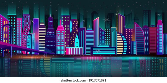 Night city, a metropolis with a neon glow and bright colors bridge over the river. Vector, EPS 10