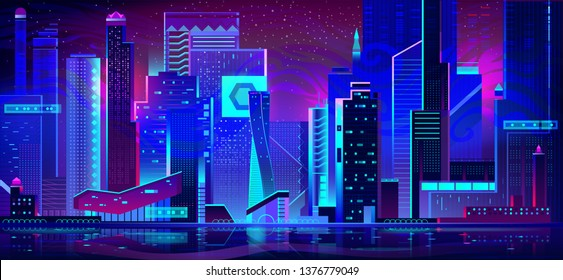 Night city with neon illumination. Futuristic urban architecture, panoramic view cityscape with glowing lights. Modern megapolis buildings exterior in blue purple palette. Cartoon vector illustration.