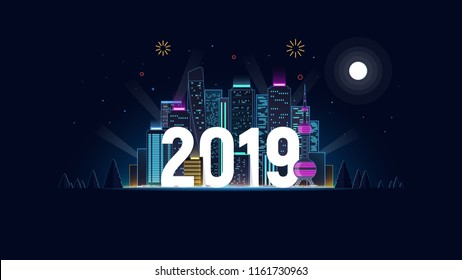 Night city in neon lights. 2019. New Year. Merry Christmas. Concept design of neon skyscrapers and 2019 year. Modern futuristic background with big city for greeting template. Vector illustration.