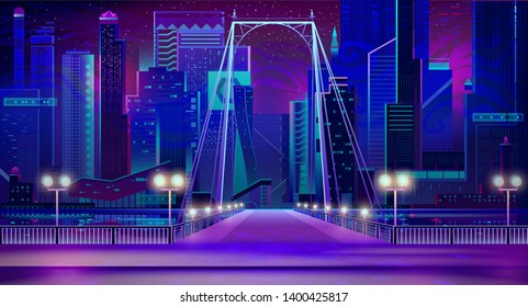 Night city with neon lights, bridge entry front view and quay with glowing lamps illumination. Futuristic cityscape background. Modern town buildings exterior architecture. Cartoon vector illustration