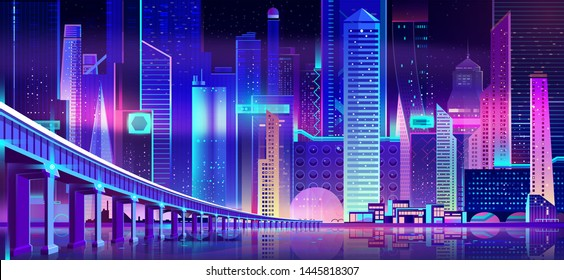 Night city with neon lights and bridge above water bay surface. Futuristic illuminated urban architecture, panoramic view cityscape, modern megapolis buildings exterior. Cartoon vector Illustration