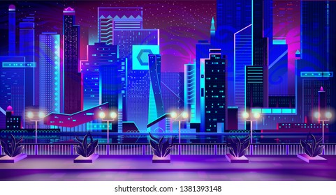 Night city with neon lights and quay with street plants going along waterfront. Futuristic urban architecture, panoramic view cityscape, modern megapolis buildings exterior Cartoon Vector Illustration