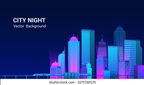 Night city panorama.Cityscape on a dark background with bright and glowing neon purple and blue lights. Wide highway side view. Cyberpunk and retro wave style Vector illustration.